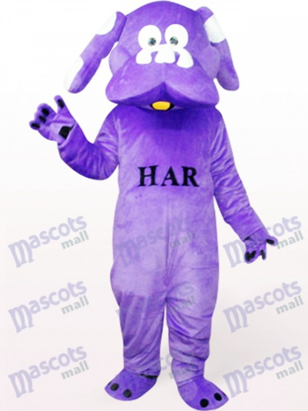 Chien en costume de mascotte animal violet
