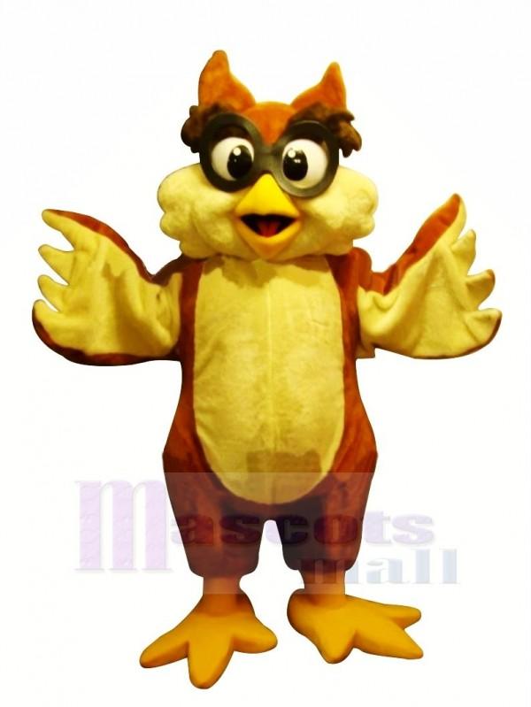 Jaune Hibou avec Des lunettes Mascotte Les costumes Dessin animé