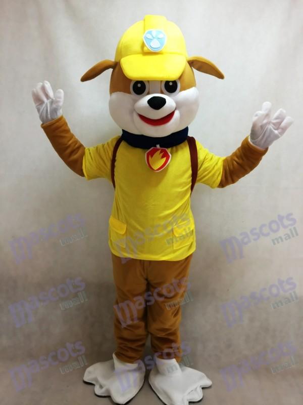 La Pat' Patrouill Paw Patrol Rubble Costume de mascotte chien jaune Halloween
