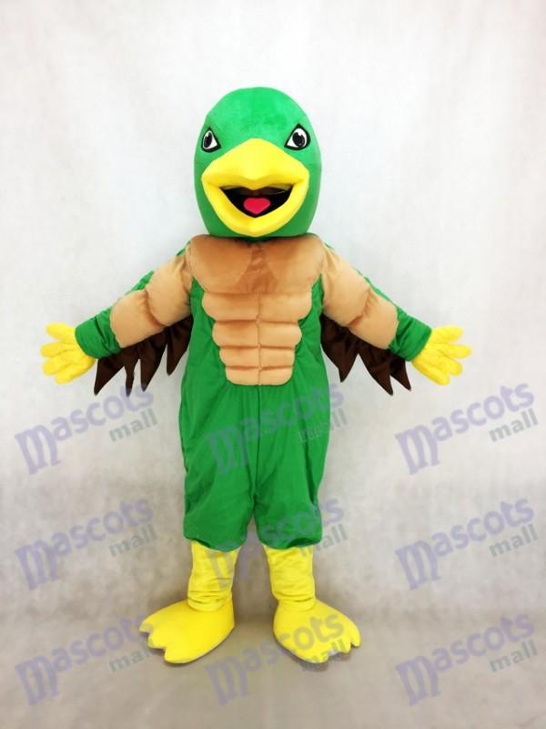 Costume de mascotte verte et jaune Puissant aigle royal