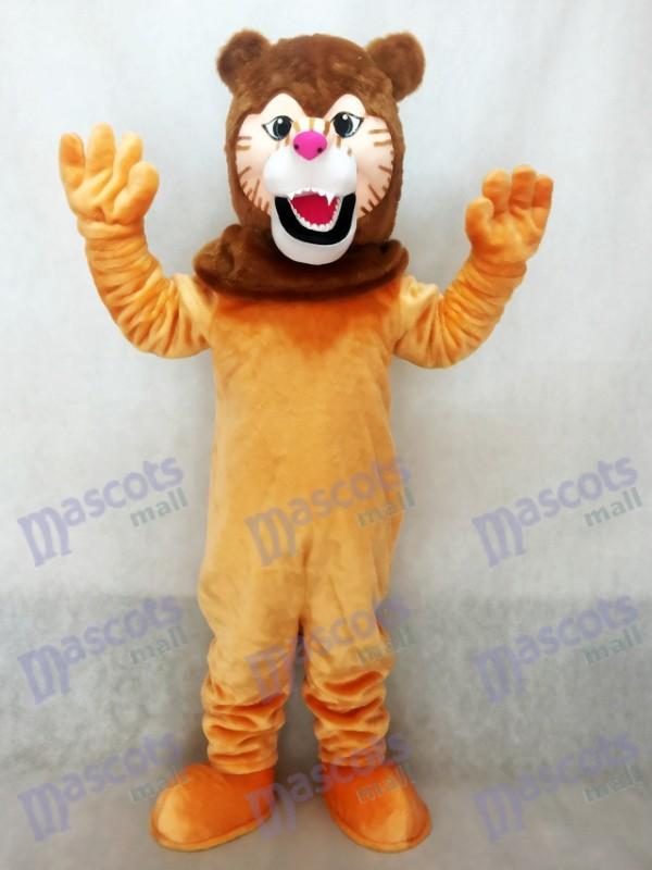 Costume de mascotte de lion avec crinière marron foncé