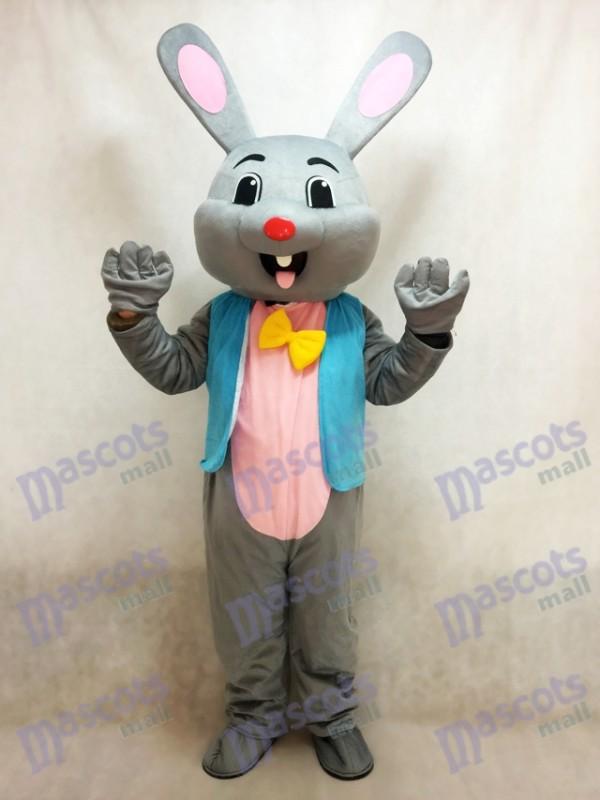 Costume de mascotte de lapin gris lapin gris de Pâques en veste bleue