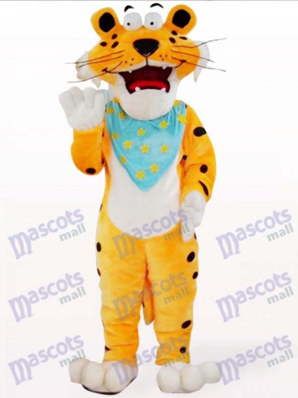 Costume de léopard orange avec mascotte bleue