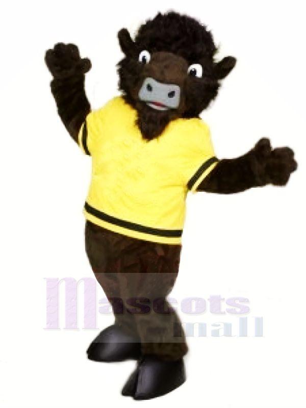 Sauvage Buffle avec JauneT-shirt Mascotte Les costumes Dessin animé