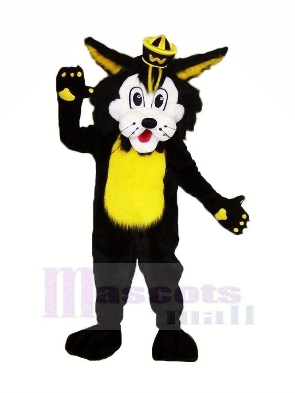 Noir Chat sauvage Mascotte Les costumes Dessin animé