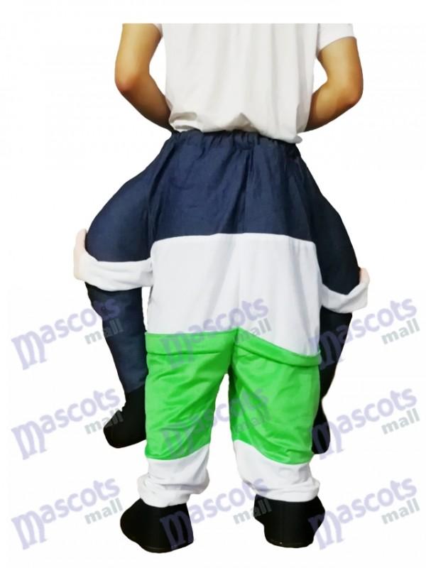Piggyback barbu oncle Carry Me Ride vert survêtement homme mascotte Costume