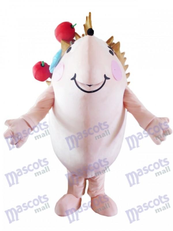 Hérisson heureux avec costume de mascotte de pommes rouges Animal