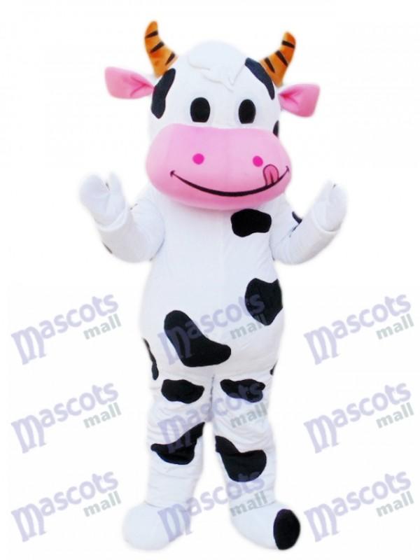 Dessin animé de mascotte de vache bouche rose