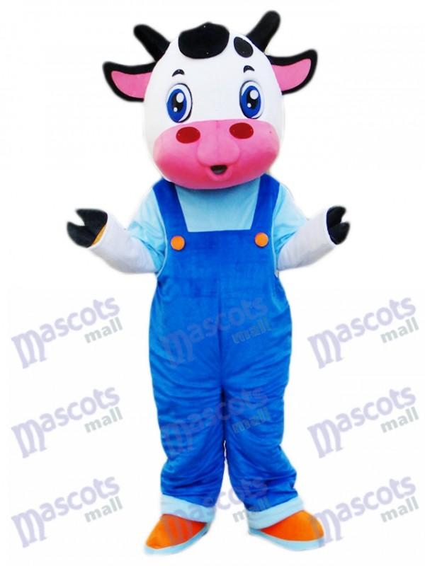 Vache en bleu Cartoon de costume de mascotte de salopettes
