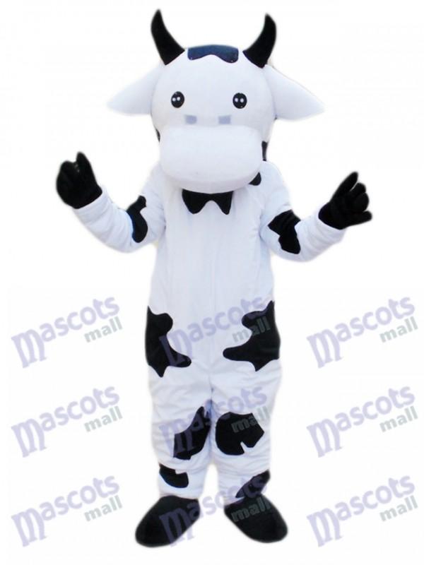 Caricature de costume de mascotte de vache noire et blanche
