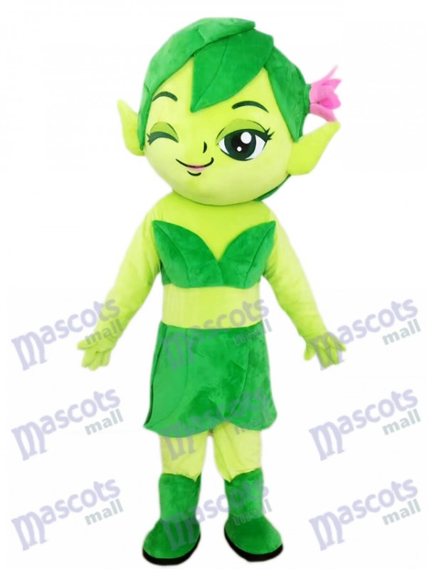 Assistant femelle Elfe vert avec dessin de costume de mascotte fleur