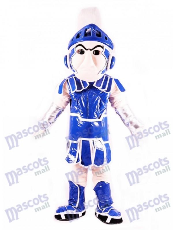 Costume de mascotte spartiate bleu chevalier spartiate Sparty
