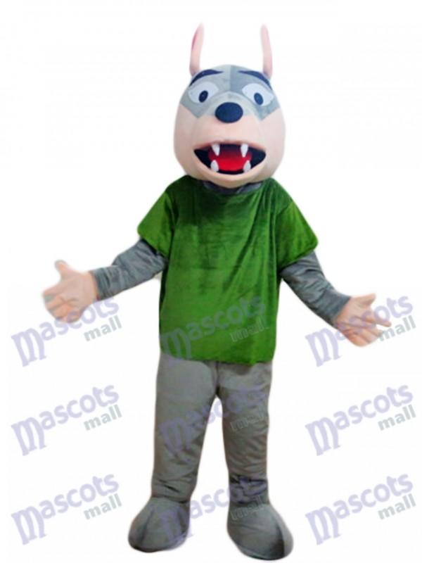 Loup gris en costume de mascotte chemise verte Animal