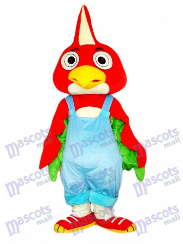 Costume de mascotte d'oiseau perroquet rouge Animal