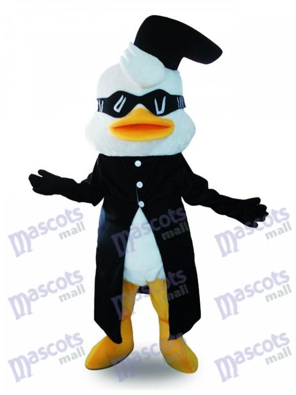 Costume de mascotte de costume noir canard avec des lunettes Animal