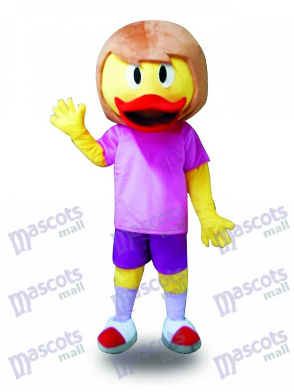 Canard jaune en costume violet Costume mascotte Farm