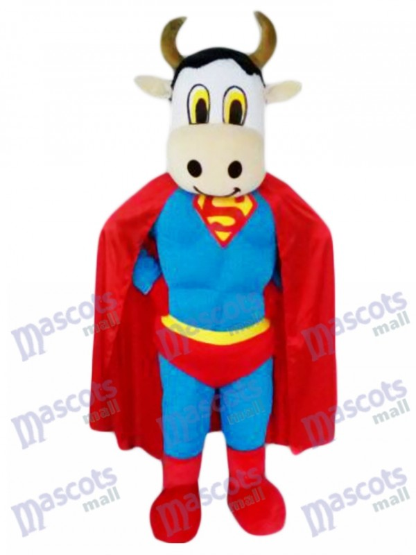 Bovins Super Cow avec Superman Cap Mascotte Costume Animal