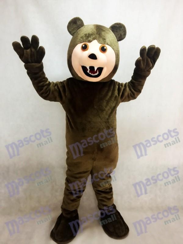 Costume de mascotte de grizzli brun foncé