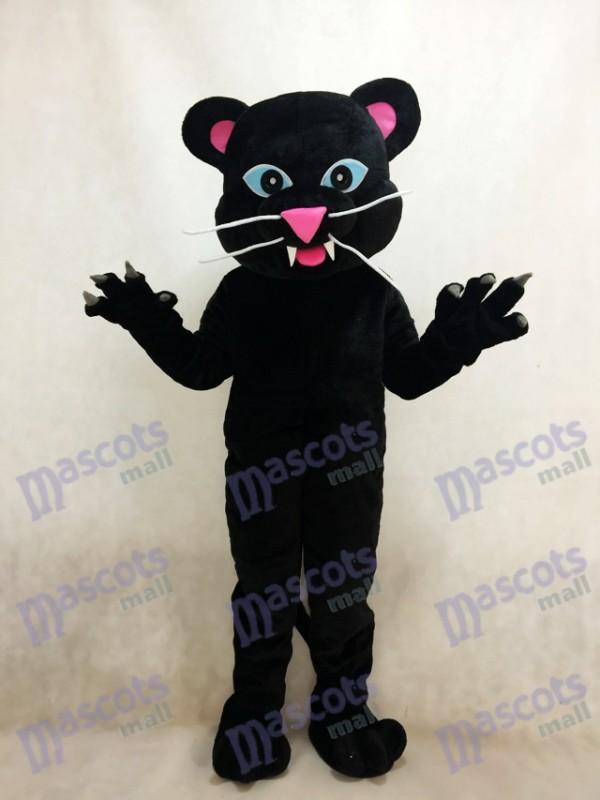 Costume de mascotte de la panthère noire aux yeux bleus