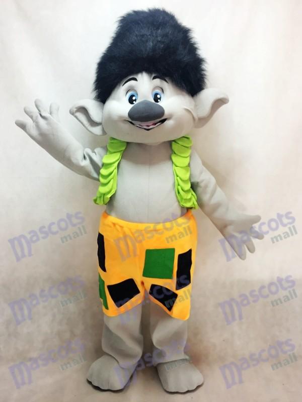 Garçon de branche Trolls avec dessin de costume de mascotte de cheveux noirs