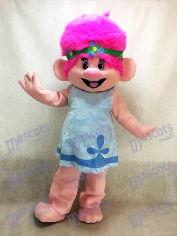 Trolls Cartoon bébé coquelicot avec costume de mascotte de cheveux roses