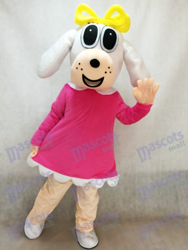 Femme Chien En Fuchsia Robe Mascotte Costume Animal