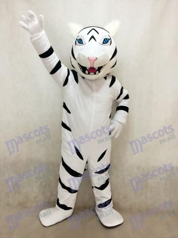 Costume de mascotte tigre albinos blanc sans barbe