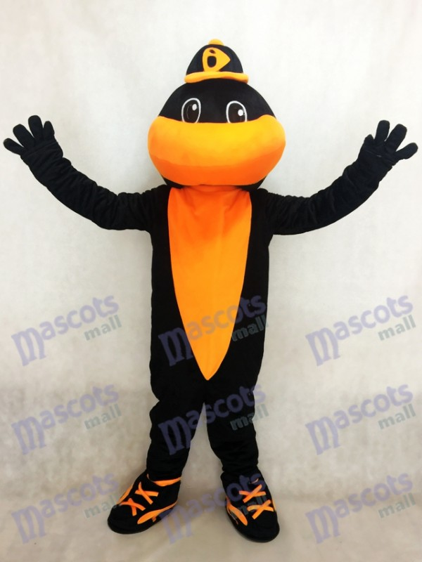 Costume de mascotte Baltimore Orioles Black et Orange Sport Team Baseball Bird