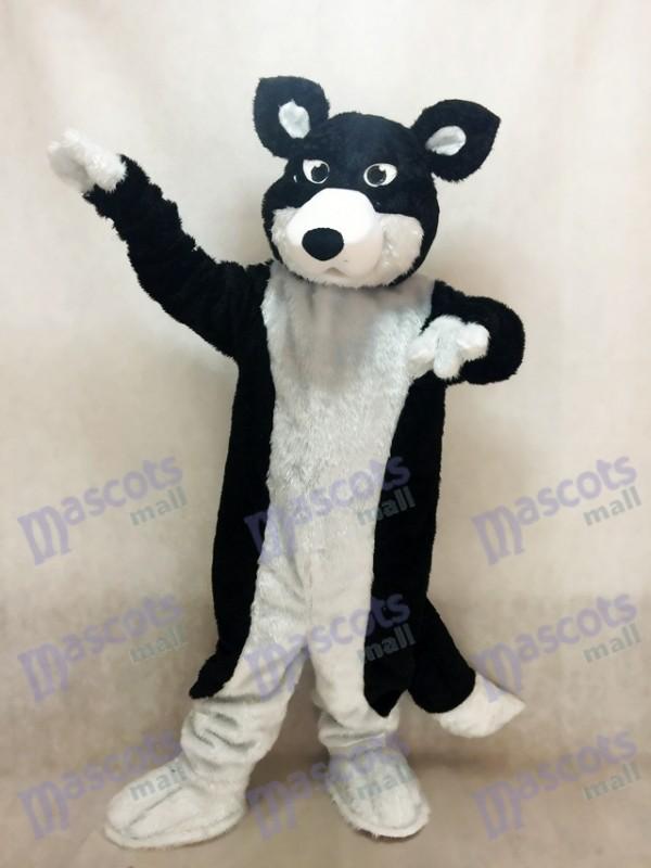 Costume de mascotte chien husky colley noir et blanc Animal