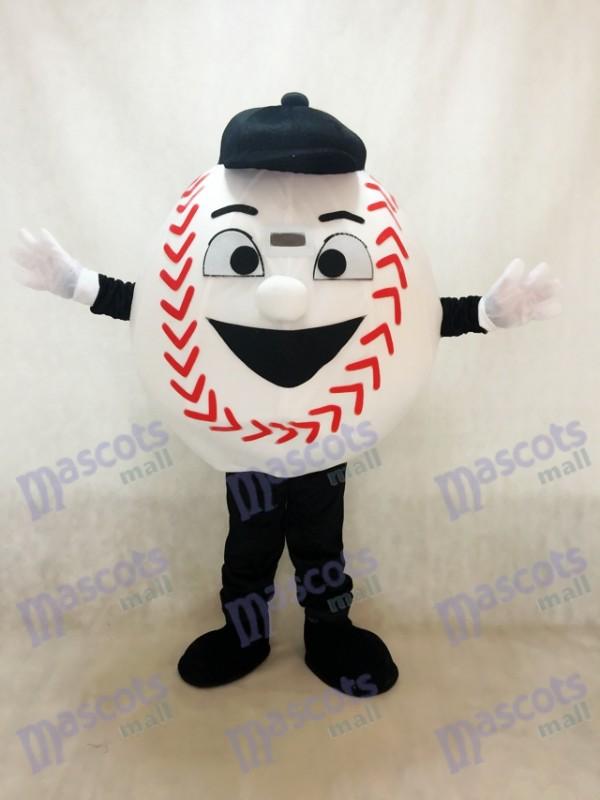 Baseball blanc adulte avec un costume de mascotte de chapeau noir