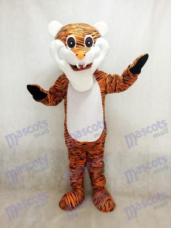 Costume de mascotte adulte rouge tigre à rayures marron Animal