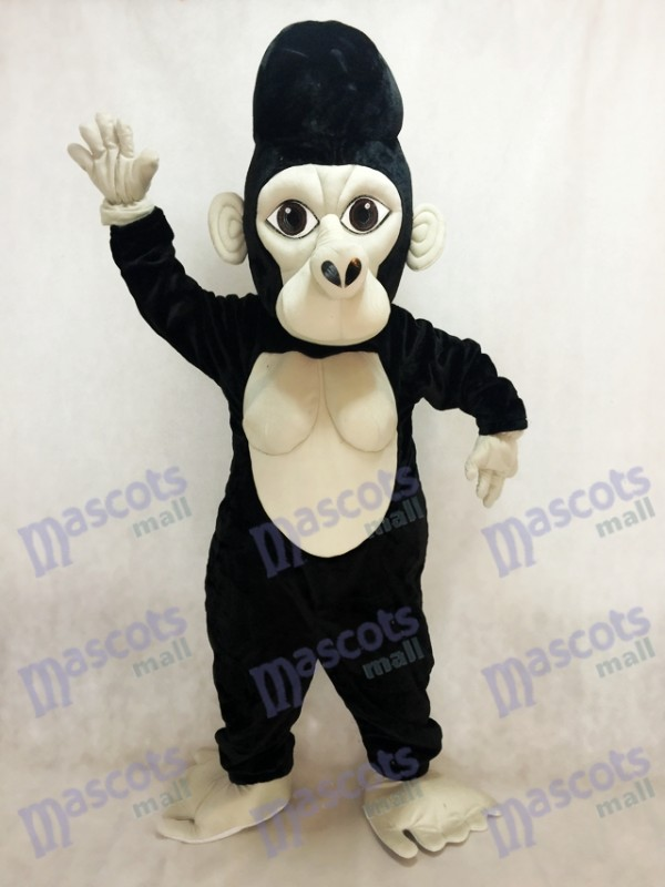 Costume de mascotte gorille à dos argenté noir