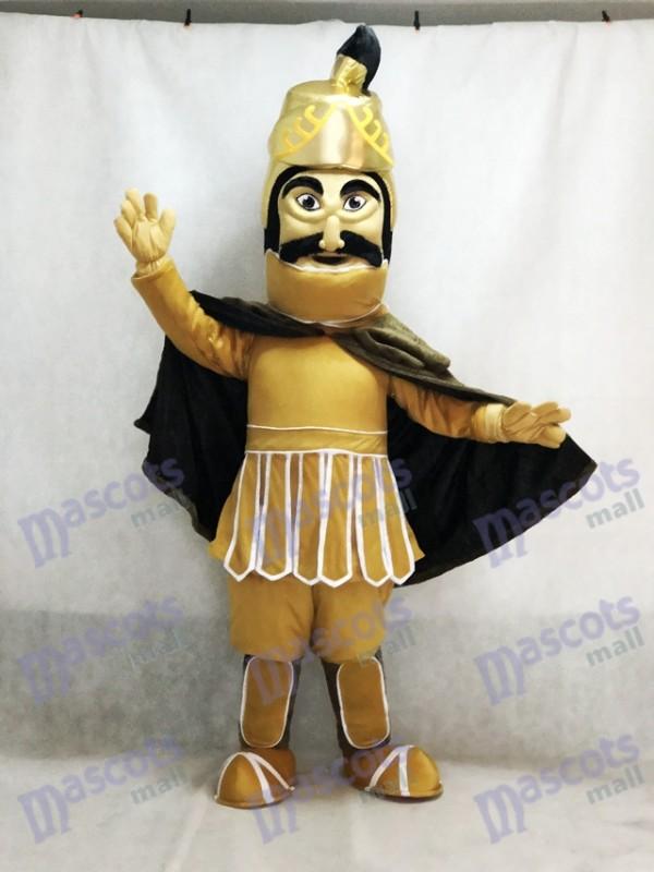 Costume de mascotte de guerrier de Troie de casque d'or féroce