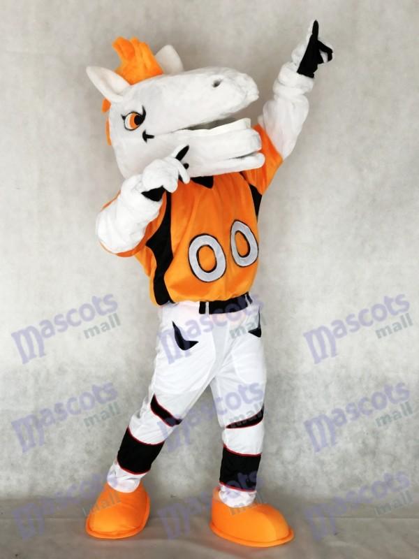 Nouveau Broncos de cheval de Mustang avec le costume de mascotte de crinière d'orange Animal