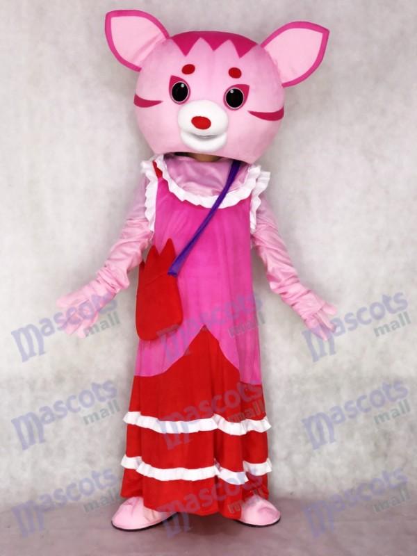 Costume de mascotte adulte fée chat rose