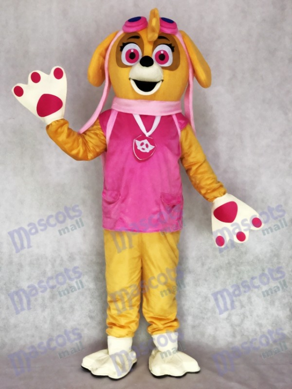 Paw Patrol Skye Adulte Mascotte Costume Rose Chien Personnage de dessin animé