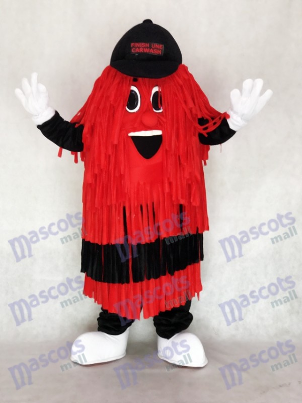 Promotion de costume de mascotte de ligne de lavage de voiture noire et rouge
