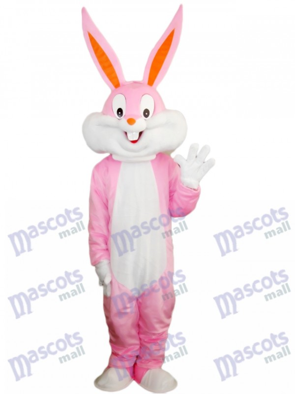 Costume de mascotte de lapin de lapin de Pâques rose Cartoon