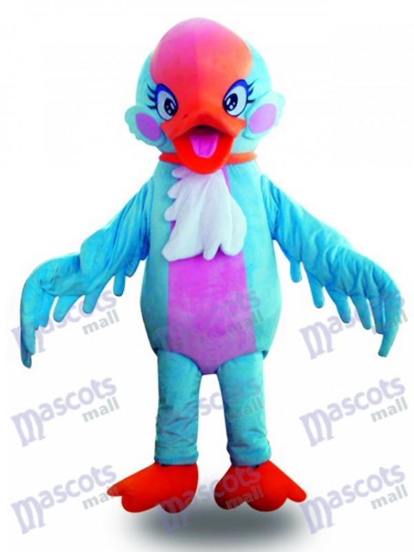 Costume de mascotte oiseau bleu cygne oiseau tête rouge