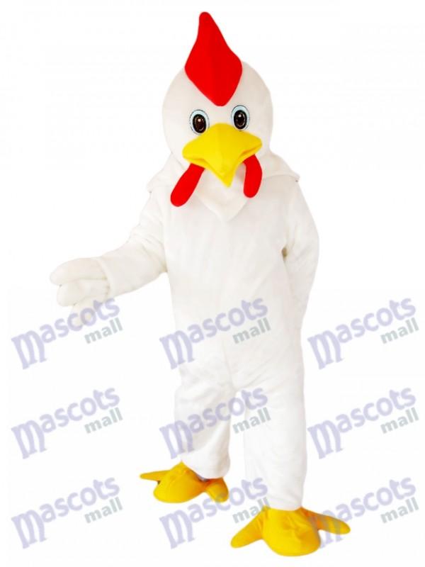 Costume de mascotte de poulet blanc coq Animal de bande dessinée