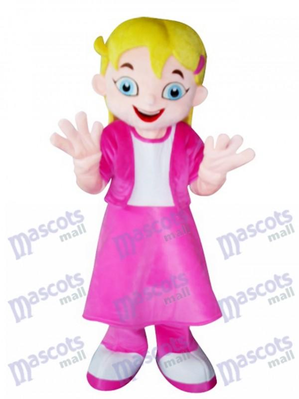 Fille de cheveux jaunes en robe rose Costume de mascotte