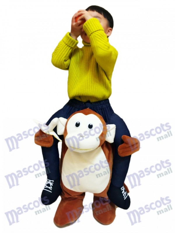 Singe Piggyback Carry Me Ride Singe brun avec un costume de mascotte Banana For Kid