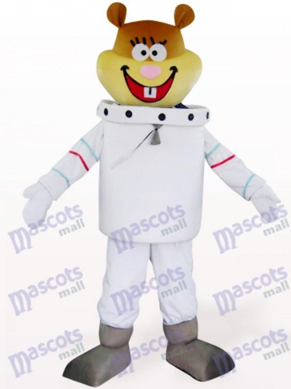 Déguisement de mascotte d'animal de souris de navigation de l'espace blanc