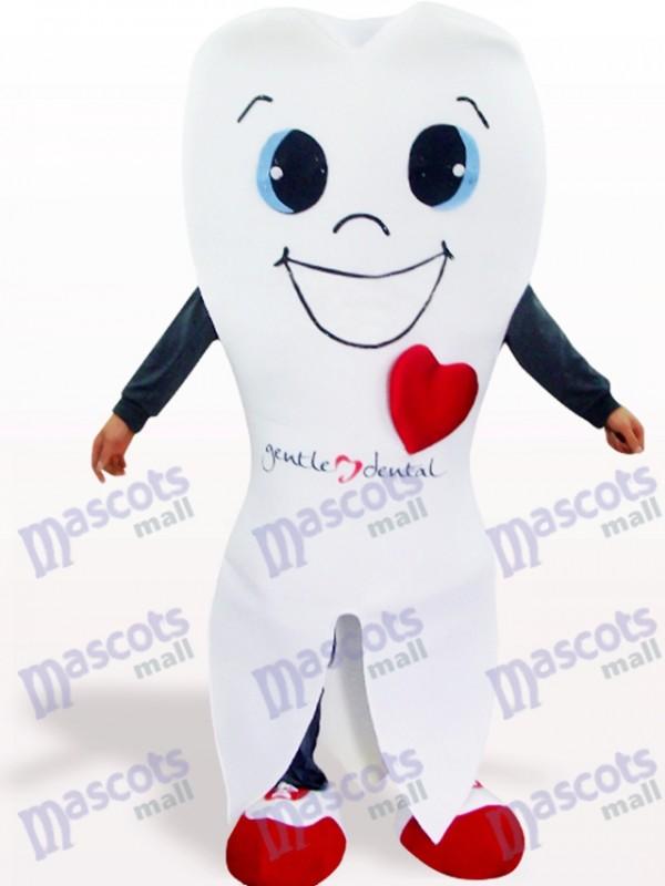 Costume de mascotte adulte de bande dessinée blanche de dent