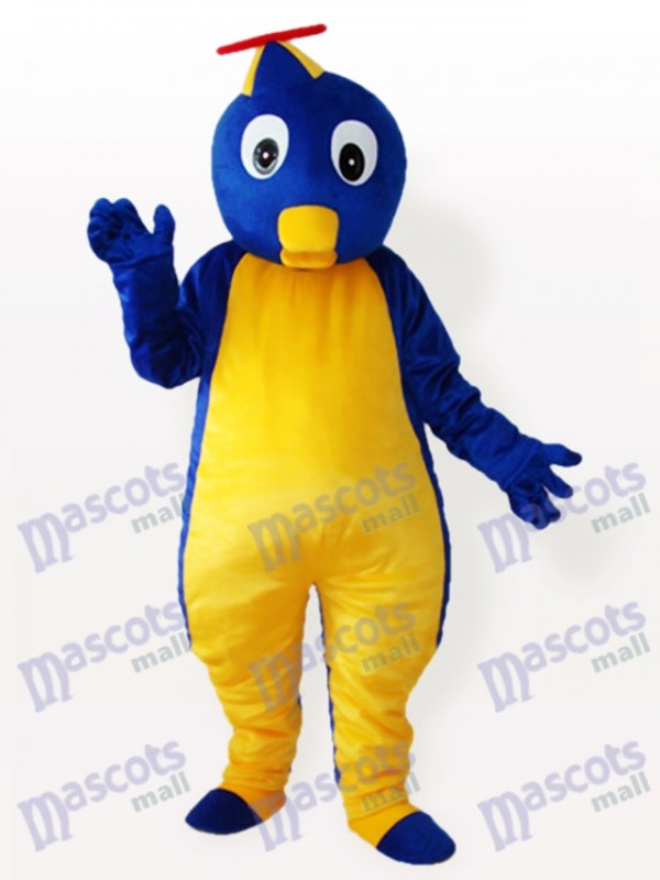 Pingouin bleu en costume de mascotte adulte chapeau volant