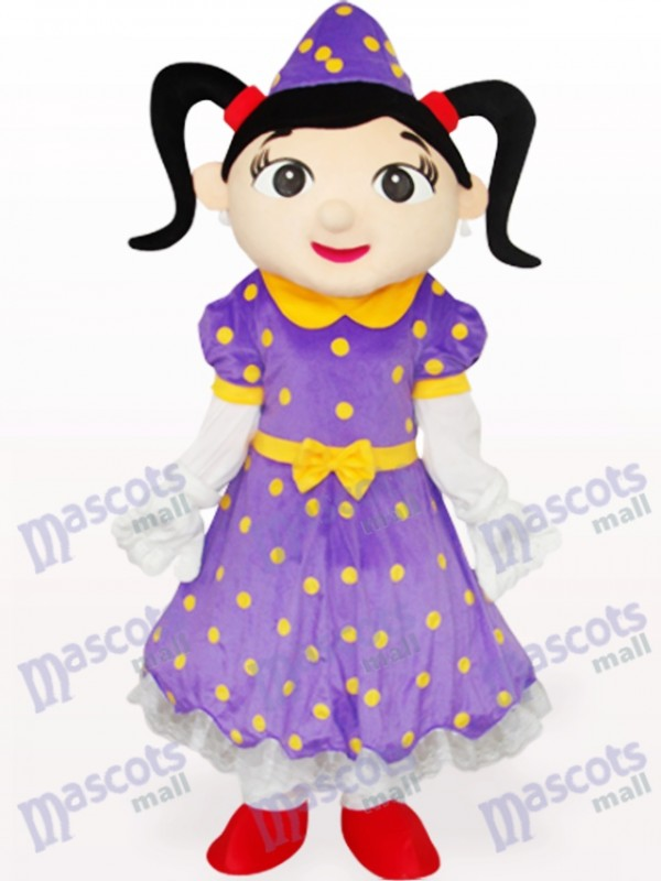 Fille en robe violette Costume de mascotte adulte de bande dessinée