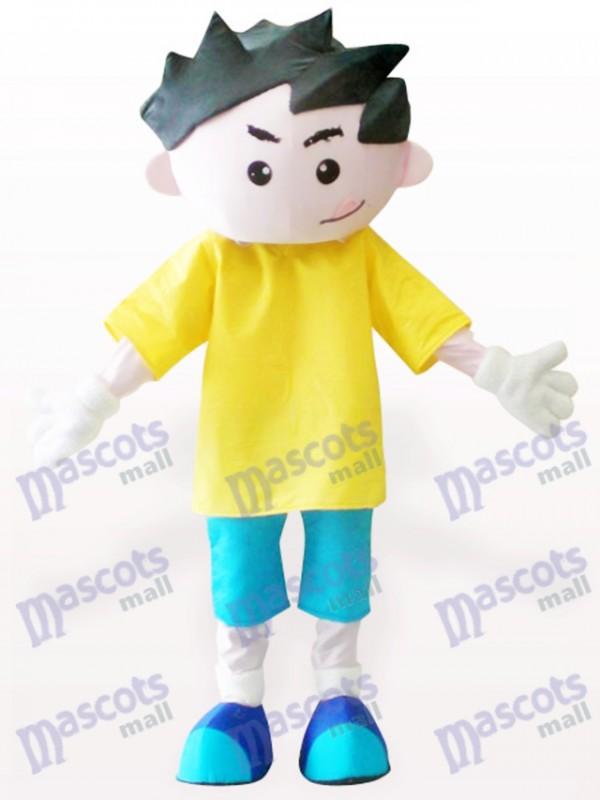 Costume de mascotte adulte de dessin animé garçon jaune vêtements