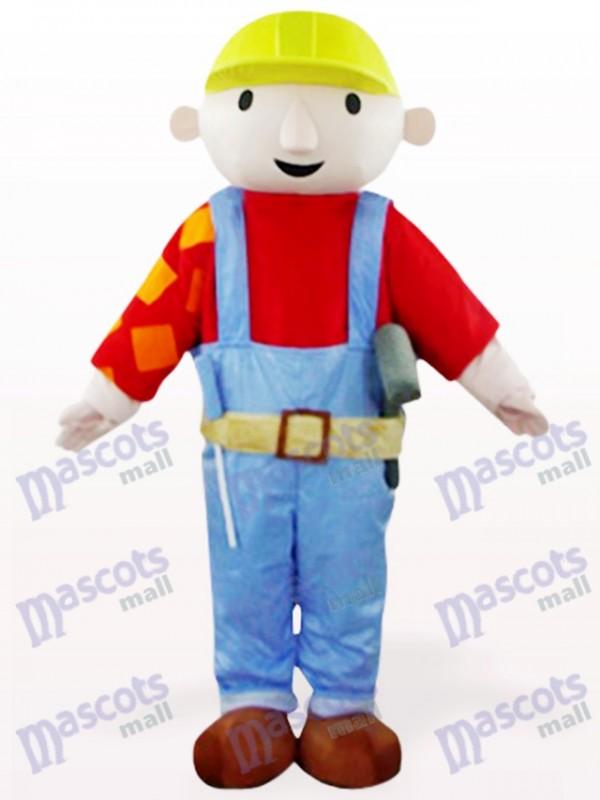 Costume rouge de mascotte de dessin animé de travailleur de maintenance de Bab