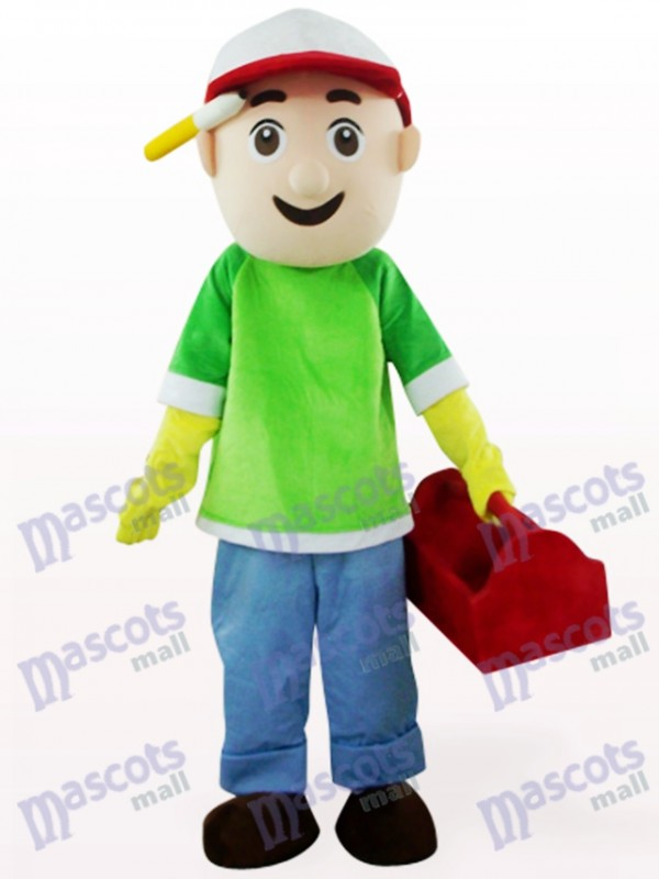 Costume de mascotte de dessin animé garçon vert et bleu vendeur