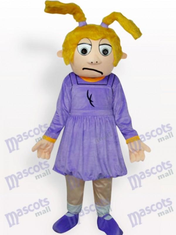 Costume de mascotte adulte pourpre de bande dessinée de fille triste